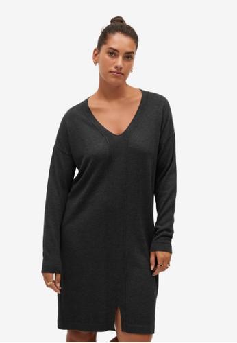 Violeta by MANGO grey Plus Size Knit Cotton-Blend Dress 846DBAA6321697GS_1