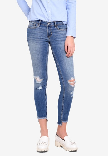 Hollister blue Medium Destroy Fray Jeans 011FBAABF926F2GS_1
