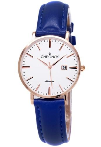 CHRONOX blue Chronox CX1002/B3  Putih - Jam Tangan Wanita - Strap Kulit Biru Rosegold CH541AC09EWSID_1
