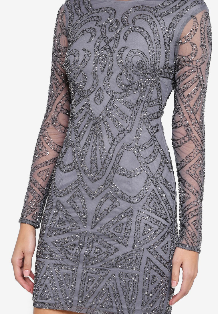 Brooklyn Dress Grey Lace Beads amp; ZZ1vfx