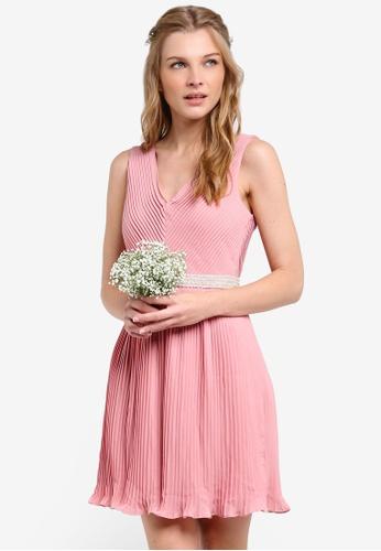 ZALORA pink Bridesmaid Pleated Mini Dress with Embellished Waistband 93544AA30E72EAGS_1