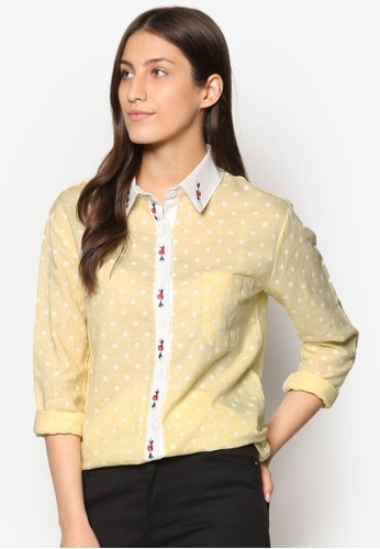 撞色點點長esprit台灣outlet袖襯衫, 服飾, 上衣