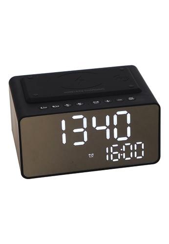 JVD JVD Lifestyle Wave Bluetooth Alarm Clock with Wireless & USB Charging, FM radio & 5W speaker, Black 1C63BHL7CF053FGS_1