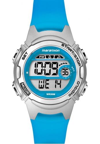 TIMEX blue Timex Marathon® - Blue Resin Strap Watch TI857AC90CNTSG_1