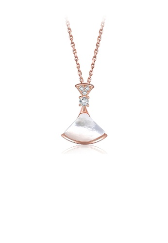Glamorousky white 925 Sterling Silver Fashion Plated Rose Gold Skirt Pendant with Austrian Element Crystal and Necklace 36533AC0F21991GS_1