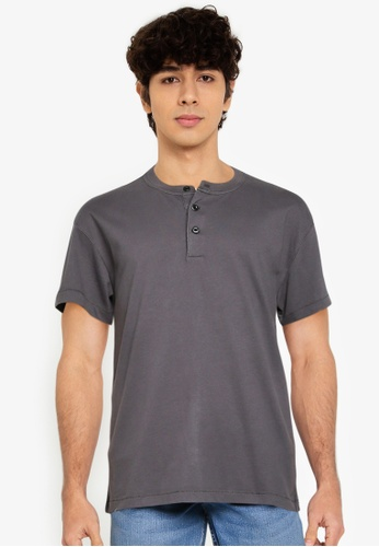ABERCROMBIE & FITCH grey Essential Henley T-shirt 9244EAA381D9E9GS_1