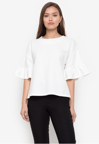 CIGNAL white Round Neck Bell Sleeves Blouse D5045AA51DF444GS_1