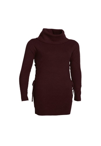 Universal Traveller red Universal Traveller Midlength Turtleneck Knitted Sweater With Lace Details At Side Of Waist - KSW 9164 43323AAF00F66DGS_1
