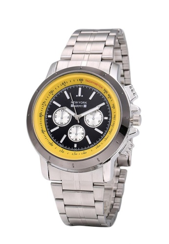 Greatvalueplus black and yellow Newyork Army NYA161 Men's Stainless Stee Oversize Watch - Dial 3DAECACE73B047GS_1