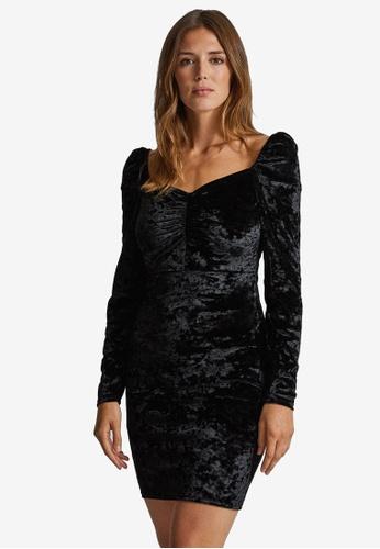 Dorothy Perkins black Black Velvet Dress 30632AAD2DDC71GS_1
