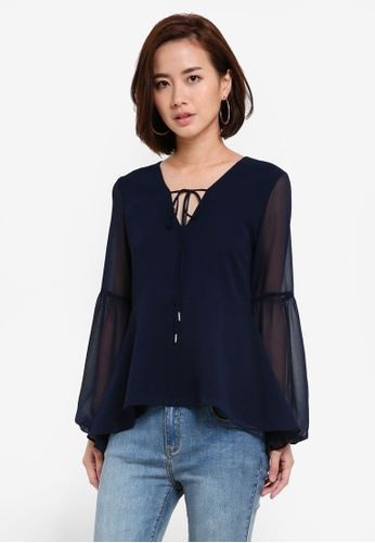 ZALORA navy Tie Front Balloon Sleeves Top 17D91AAC877739GS_1