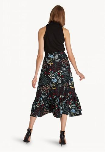 Jual Pomelo Midi Floral Asymmetric Skirt - Black Original ...