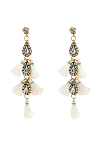 Red's Revenge white Cascading Gems & Tassel Statement Earrings 648AFACE000342GS_1