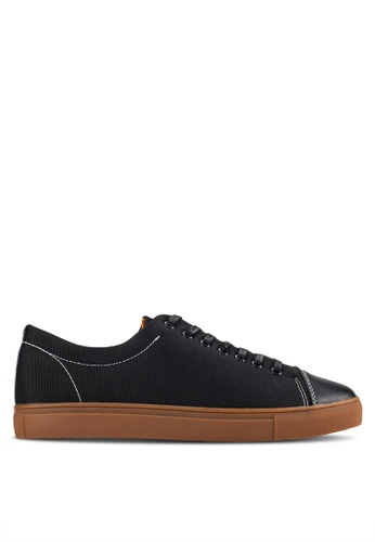 UniqTee black Mesh And Neoprene Low-Top Sneakers UN097SH82INDMY_1