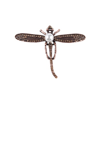 Glamorousky white Simple Vintage Plated Gold Dragonfly Imitation Pearl Brooch with Cubic Zirconia C92CDACCECEAE3GS_1