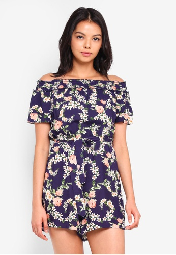 93a7180b4605 Buy Dorothy Perkins Petite Navy Floral Playsuit Online on ZALORA ...