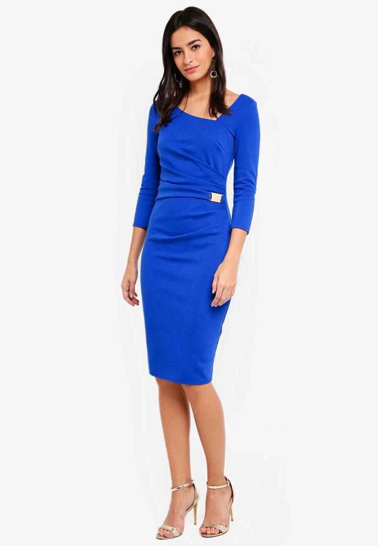 Buckle Midi Royal Dress Neck Goddiva Waist Blue Asymmetric With aBX5q