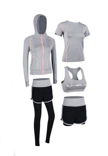 Sunnydaysweety grey Sports Bra, Top, Tights, Shorts and Jacket Set A081027GY 3F6B9AAE8F8485GS_1