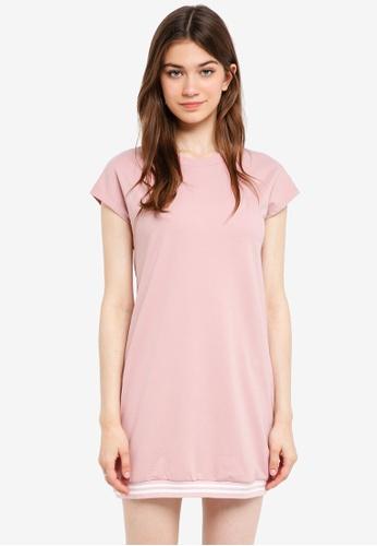 Something Borrowed pink Stripe Rib Hem Tee Dress 2EAF7AAF4693CAGS_1