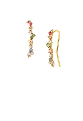 Glamorousky silver 925 Sterling Silver Plated Gold Fashion Simple Geometric Earrings with Colorful Cubic Zirconia A0DD0AC4023CC5GS_1