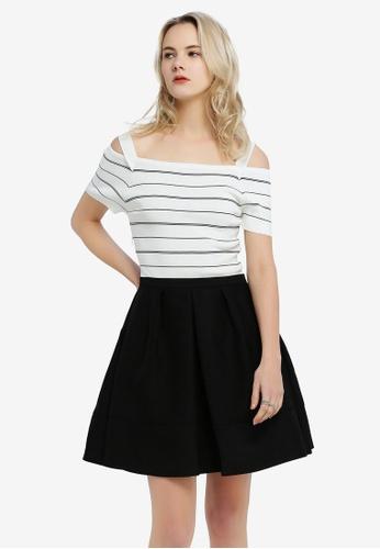 Hopeshow black and white Cold Shoulder Striped Bodice Dress B2B19AAE12D50DGS_1