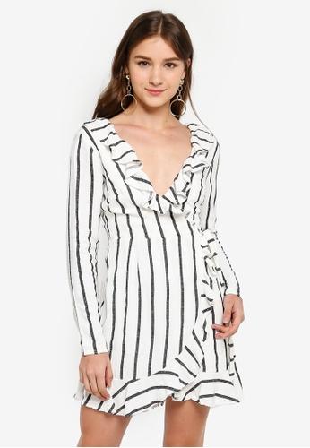 INDIKAH white Ruffle Neck Long Sleeve Wrap Dress 281EBAA42BA8FBGS_1