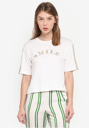 TOPSHOP white Smile Embroidered T-Shirt 7D38EAA3F0B3C8GS_1