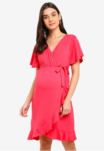 Mama.licious red Nursing Macha Tess 2/4 Jersey Dress E2C4AAA2DD66DAGS_1