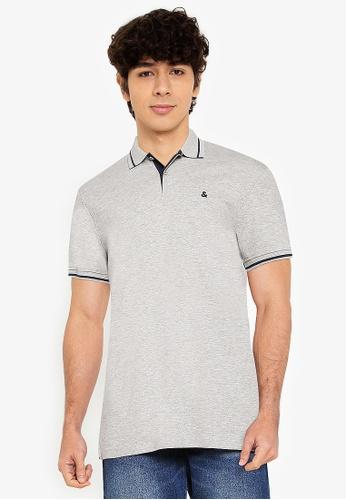 Jack & Jones grey Jersey Polo Short Sleeves Shirt F8E36AACF8B96DGS_1