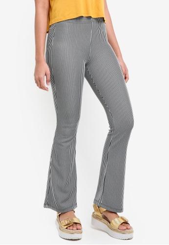TOPSHOP black Petite Stripe Flare Trousers 69124AA4A4BB0CGS_1