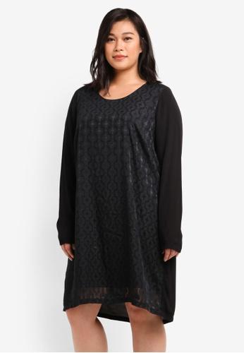 Junarose black Plus Size Sevas Long Sleeve Above Knee Dress JU731AA0S5PCMY_1