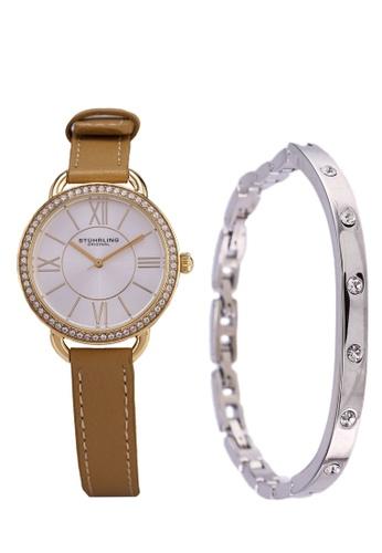 Stuhrling Original gold and brown Deauville Sport 587 Quartz Watch Set 0009BAC6AD6577GS_1