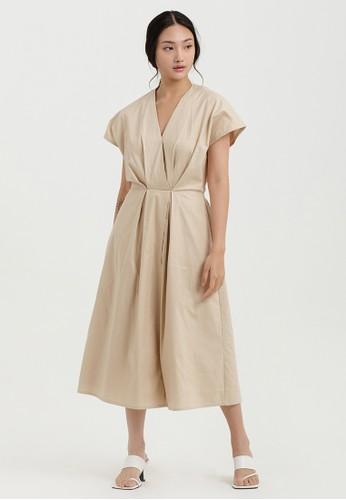 Cloth Inc beige Kai Overlap Midi Dress in Creme 214B5AA5B373C5GS_1