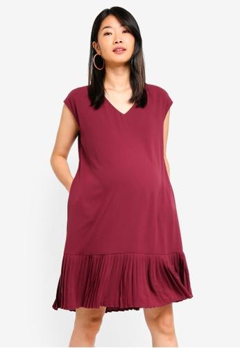 Spring Maternity 紅色 孕婦裝 褶飾洋裝 BFFF9AAF9E6281GS_1