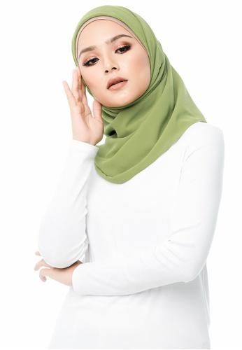 e80184037 Imaan Boutique green Chiffon Eyelash Square Scarf Leaf 48C12AA571DD2EGS_1