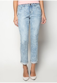 Light Acid Wash Slim Skinny with Cuffed Hem