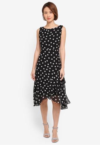 Wallis black Black Polka Dot Ruffle Shift Dress 3B149AA80D61D2GS_1