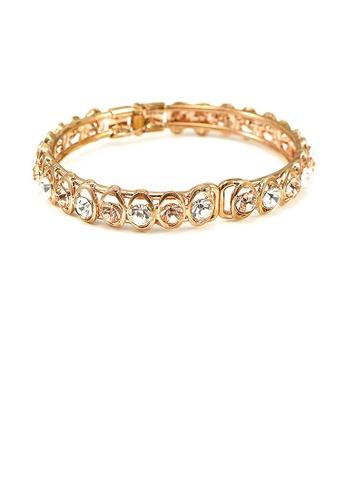 Glamorousky orange Elegant Bangle with Silver and Gold Austrian Element Crystal A4B69AC4BB779CGS_1