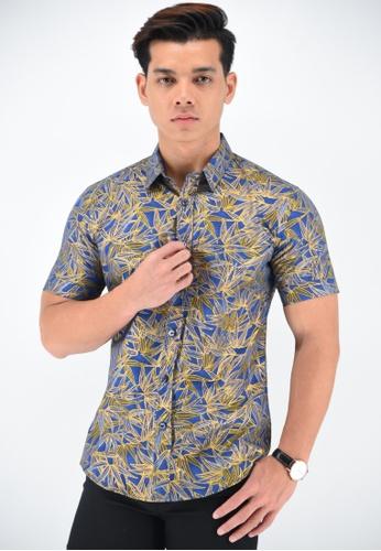 UA BOUTIQUE blue Short Sleeve Shirt Batik UASSB47-041 (Blue) 6DA94AA3F5A236GS_1