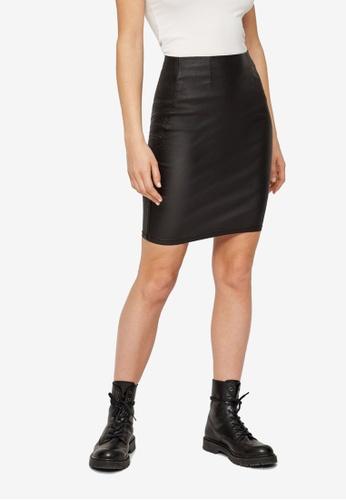Pieces black Paro High Waist Coated Skirt 027FAAA48B3011GS_1