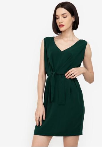 ZALORA WORK green Sleeveless Tie Waist Dress D667BAA671BB8FGS_1