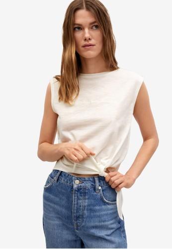 Mango white Bow Cotton T-Shirt 91A82AA9A391C7GS_1