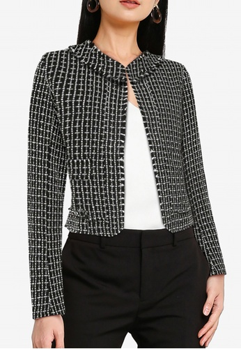 ZALORA WORK black and white Tweed Jacket With Pearl Buttons FCD7BAA4B68A36GS_1