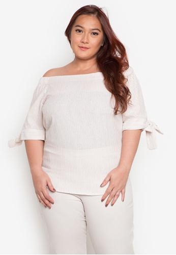 Audrey beige Ana Plus Size Blouse AU926AA0JOX9PH_1