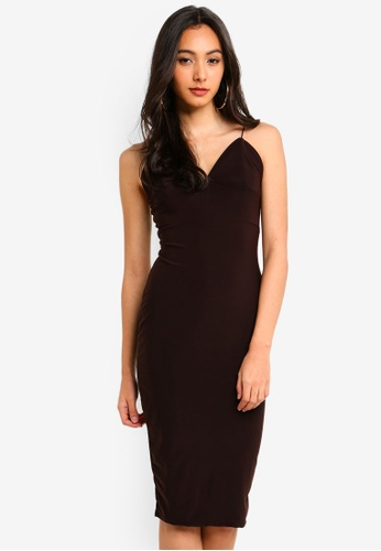 MISSGUIDED brown Spaghetti Strap Midi Dress 8534CAABA0536AGS_1