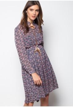 Anne Floral Dress W.Feather Tie