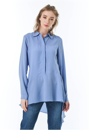 Sisley blue Asymmetrical Shirt 7A782AA4174CA3GS_1