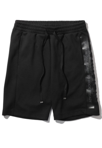 MUSIUM DIV black Logo printed drawstring sweat shorts 5979BAA49EB493GS_1