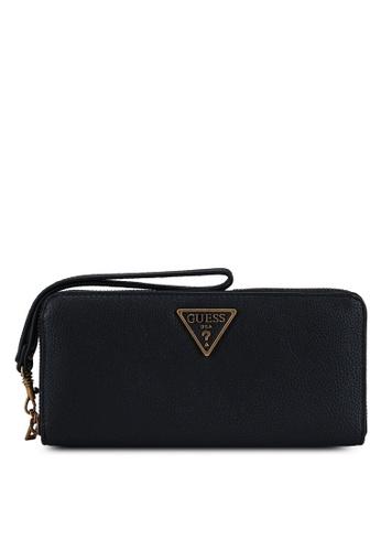 GUESS black Destiny Sling Large Zip Around Wallet 4E67DAC5FC5F73GS_1