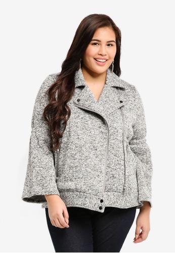 ELVI grey Plus Size The Foval Melange Knit Biker 27276AAAF22C74GS_1